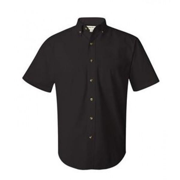 black collared button down shirt