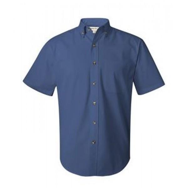 blue button down collared shirt