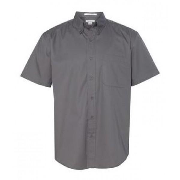 gray button down collared shirt
