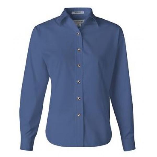 blue long sleeve button down collared shirt