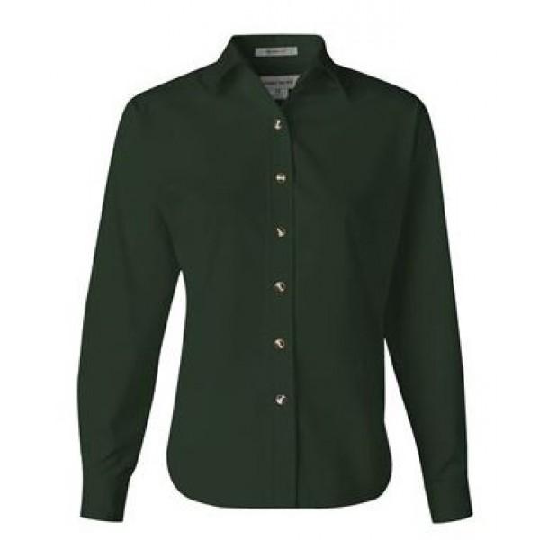 green long sleeve button down collared shirt