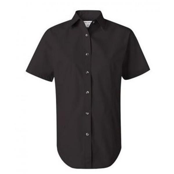 black short sleeve button down collared shirt