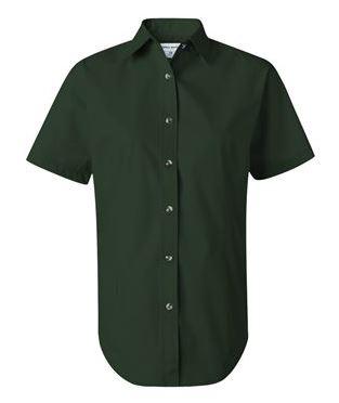 green short sleeve button down collared shirt