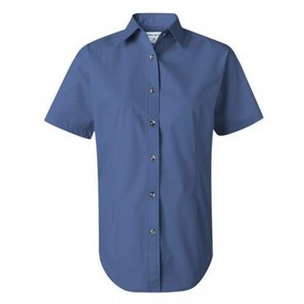 blue short sleeve button down collared shirt