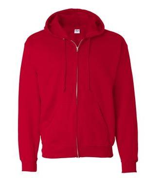 red full-zip jacket