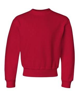 red youth crewneck sweatshirt