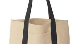 tan and black tote bag