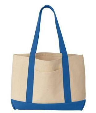 tan and blue tote bag