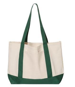 tan and green tote bag