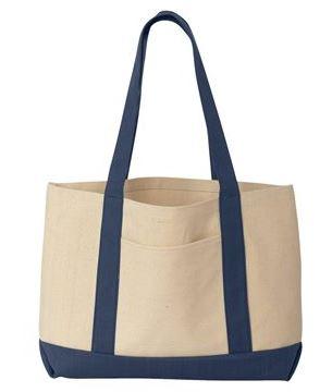 navy and tan tote bag
