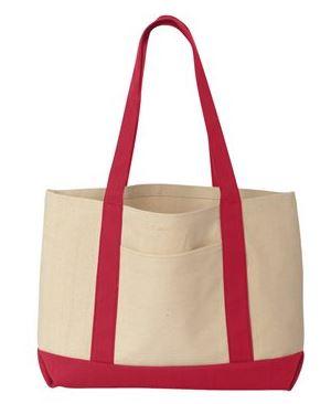 red and tan tote bag