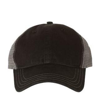black and gray trucker hat