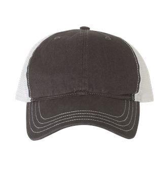 gray and white trucker hat