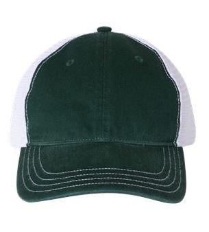 green and white trucker cap