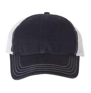 navy and white trucker cap