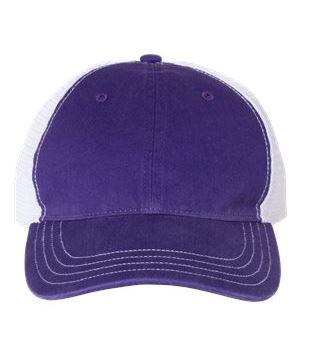 purple and white trucker cap