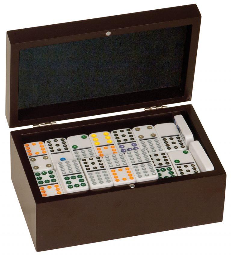 rosewood finish dominoes set