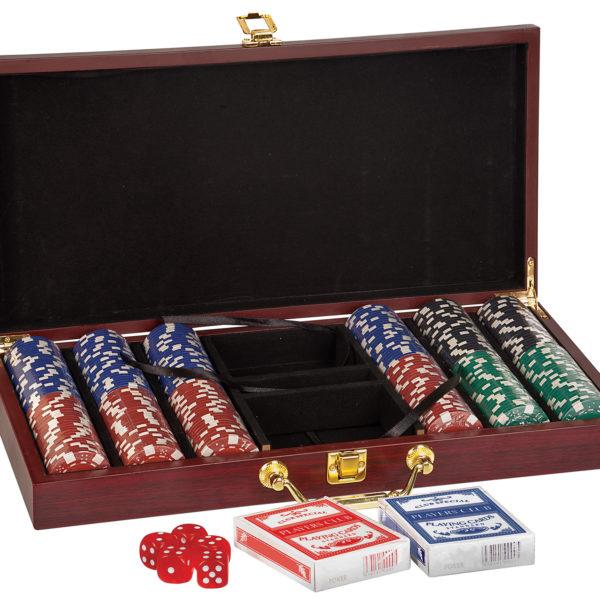 rosewood poker set - 300 chips