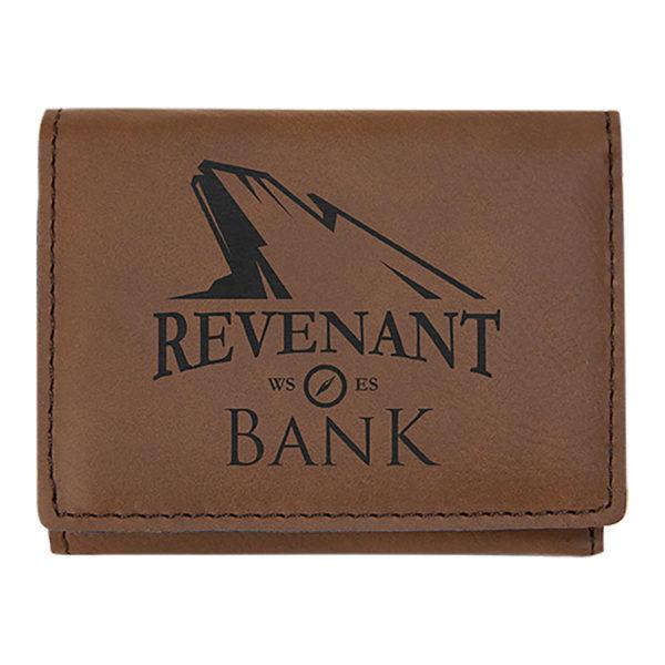 dark brown trifold wallet