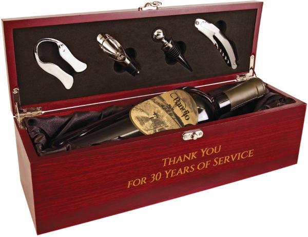 rosewood finish custom engraved wine box