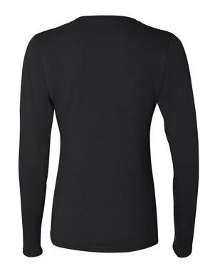 women's black long sleeve t-shirt, back view