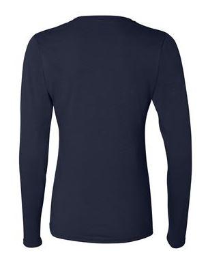 navy women's long sleeve t-shirt, back view