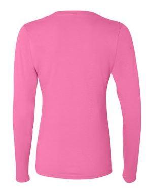 women's pink long sleeve t-shirt, back view