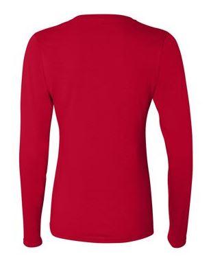 red women's long sleeve t-shirt