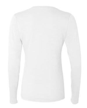 women's white long sleeve t-shirt, back view