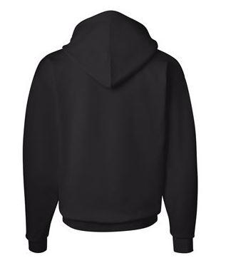 black hooded sweatshirt, back view