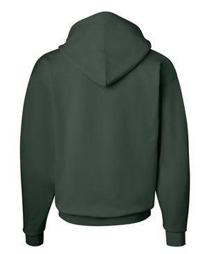green hooded sweatshirt, back view