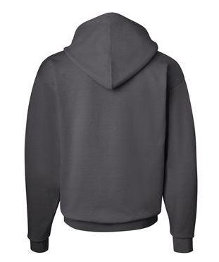 gray hooded sweatshirt, back view