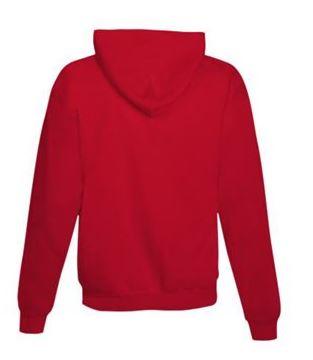 red hooded sweatshirt, back view