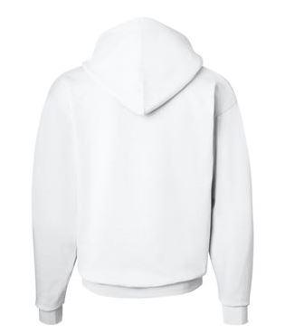 white hooded sweatshirt, back view