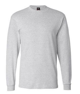 gray long sleeve shirt