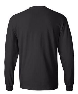 black long sleeve shirt, back view