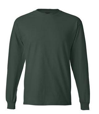 green long sleeve shirt, back view