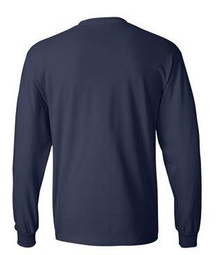 navy long sleeve shirt, back view