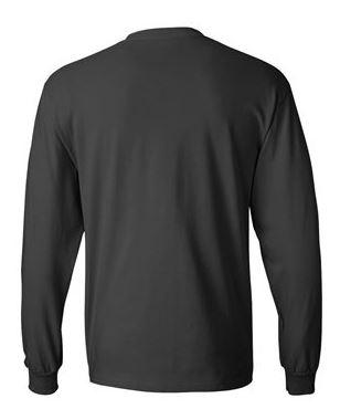 gray long sleeve shirt, back view