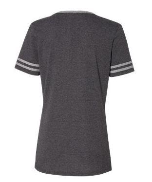 women's v-neck t-shirt back view
