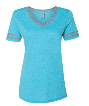 light blue and gray v-neck t-shirt