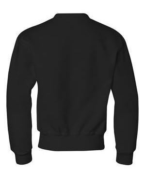 black youth crewneck sweatshirt, back view
