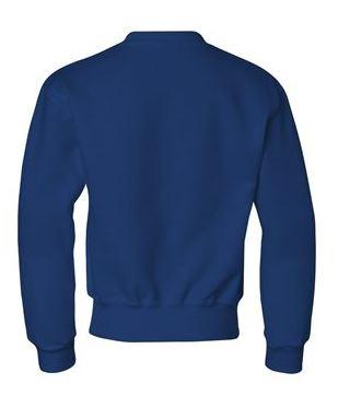 blue youth crewneck sweatshirt, back view