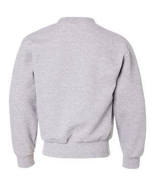 gray youth crewneck sweatshirt, back view