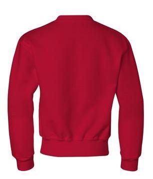red youth crewneck sweatshirt, back view