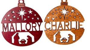 rosewood and walnut cut ornaments