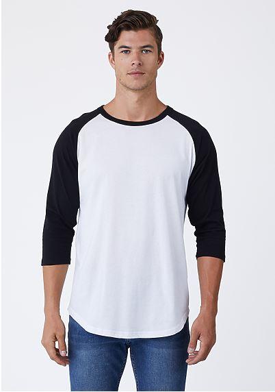 white and black baseball tee