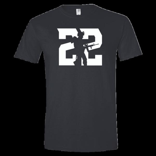 "black t-shirt that says ""22"""