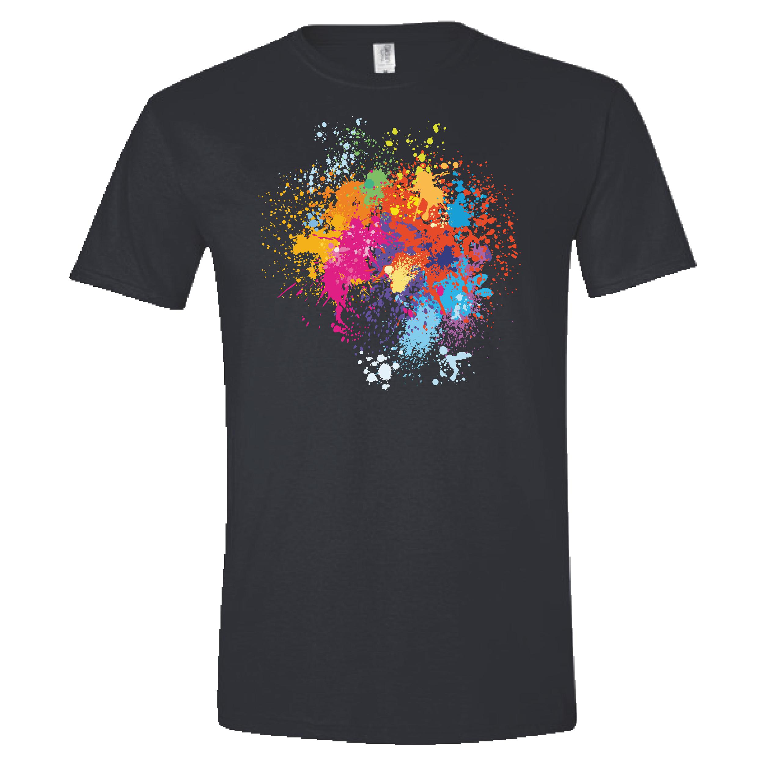 black t-shirt with a multi-color paint splatter