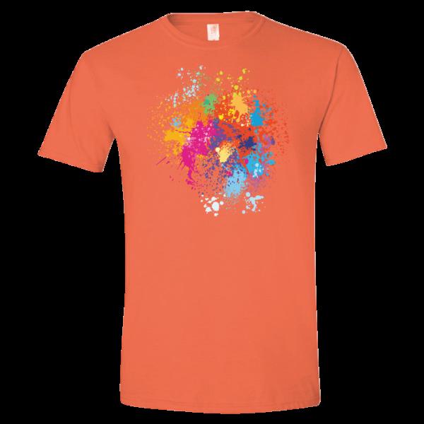 orange t-shirt with a multicolor paint splatter